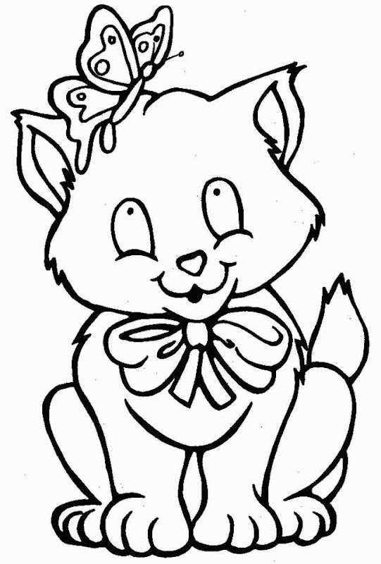 Coloring Pages : Female Kitten Wear A Hair Ribbon and Bring Flowers title=