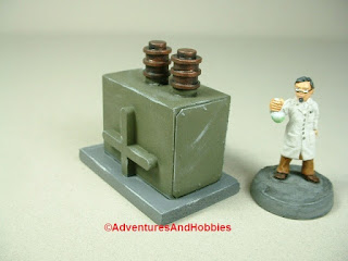 Small scale power generator designed for 25-28mm war games and role-playing games - type 3 - rear view.