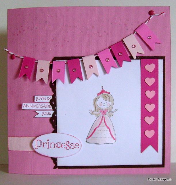 Papierscrapetc une carte d 39 anniversaire pour une princesse - Carte anniversaire petite fille ...