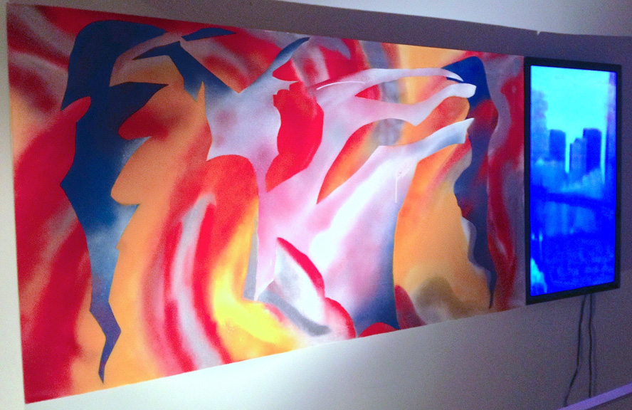 Emil Memon, HyperAbstraction/Blue movie, painting and a TV monitor