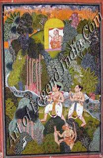 Rama, Seeta and Lakshmana in the forest Bundi miniature, Rajasthan