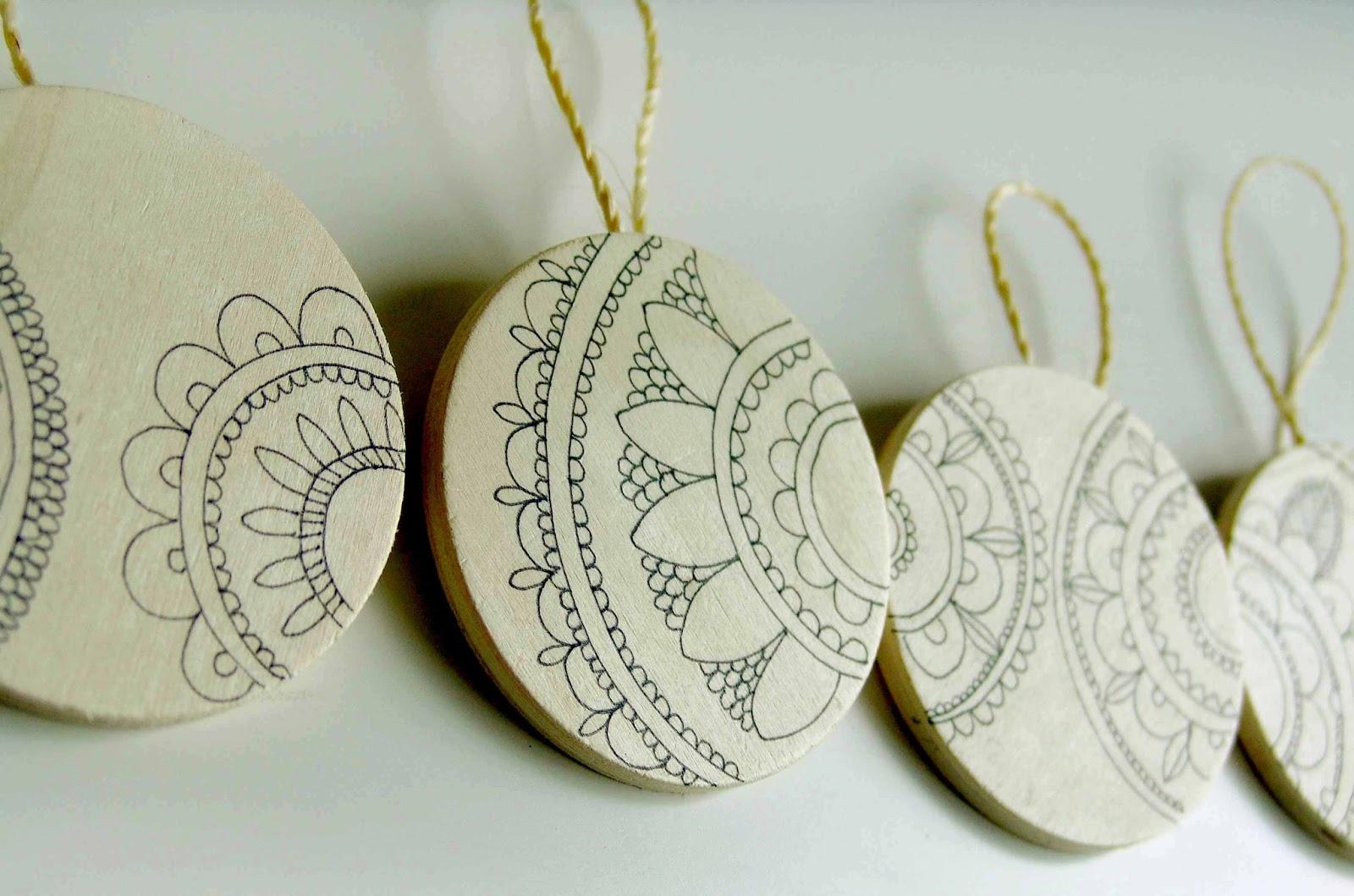 Lalibelula adornos para arbol de navidad hechos con - Bolas de madera para manualidades ...