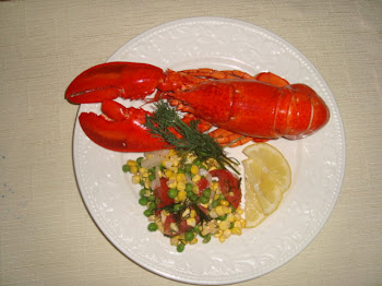 Summer Dinner - Lobster with cold corn and pea salad