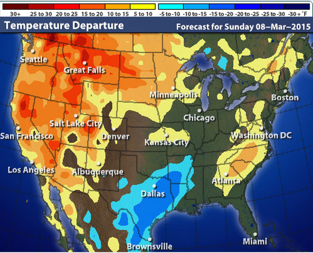 this map from intellicast shows today s temperature departure throughout the united states blue is below average no color is normal and orange yellow is