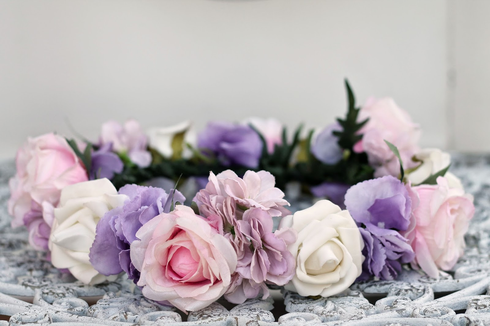 Rose tinted illustration custom rose tinted flower crown pale custom rose tinted flower crown pale pink white roses with lilac hydrangea izmirmasajfo