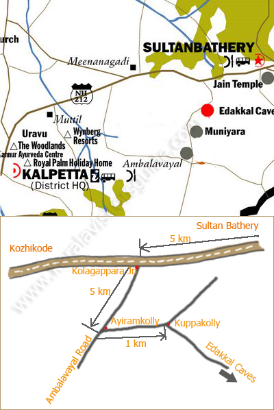 Edakkal caves sulthan bathery Wayanad Route map