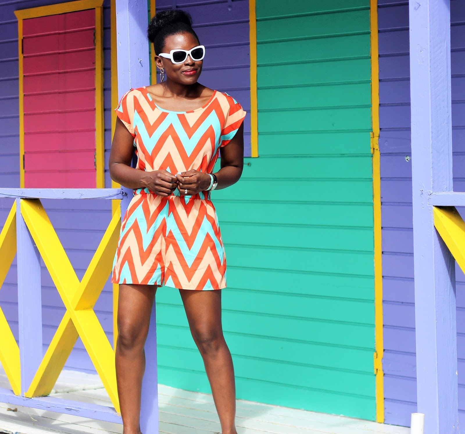 Chevron Print Jumpsuit by Lovely Day