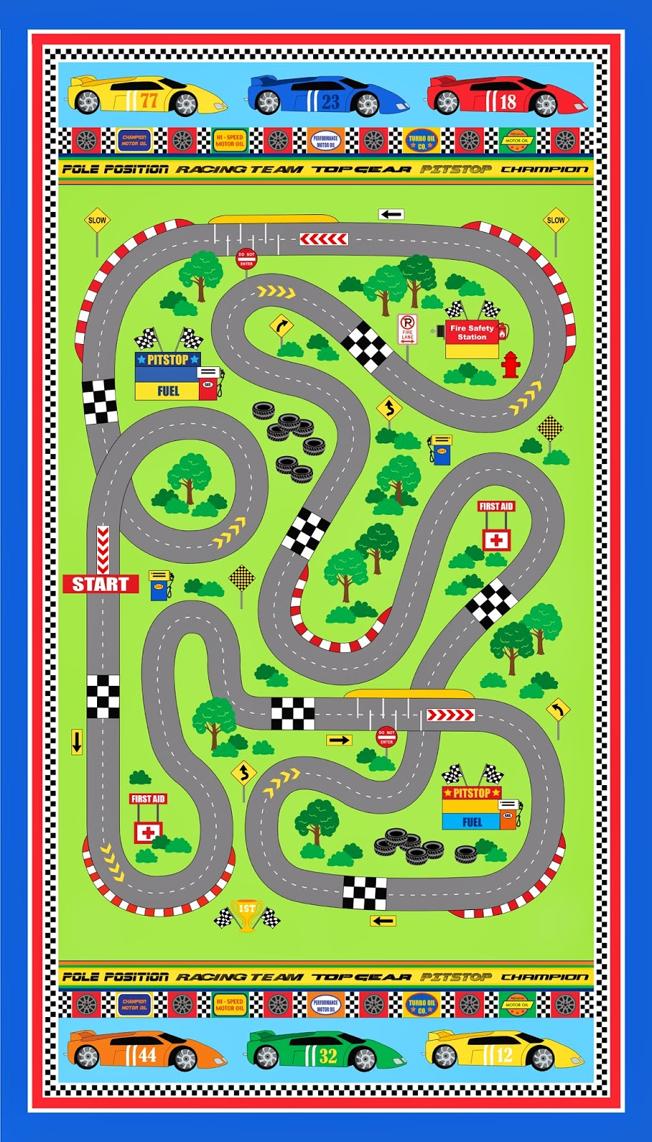 Car Road Play Mat Fabric