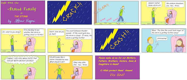 Life with Ahmad Family comic for Muslim children: The Storm
