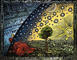 Tela Universum (C. Flammarion, Holzschnitt, Paris 1888). Contém uma síntese das idéias gnósticas a respeito do conhecimento acerca do universo