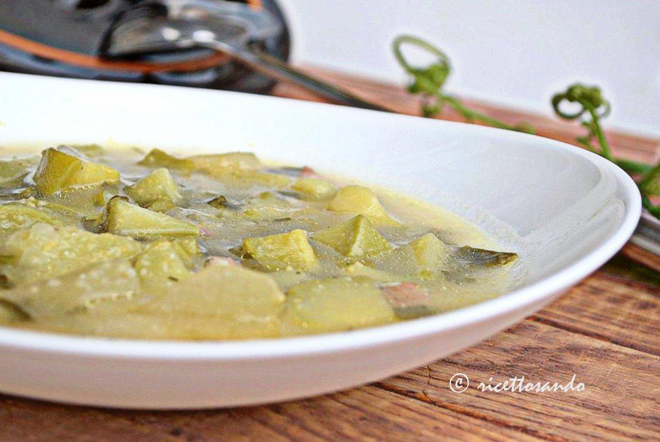 zuppa di zucchine genovesi e mais
