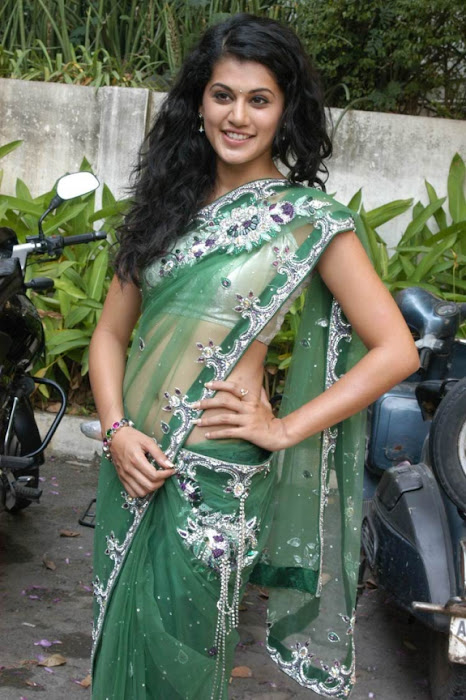 tapsee in shadow movie fame green saree , actress pics