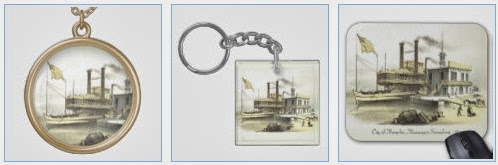 City of Memphis steamboat gold necklace, keychain and mousepad