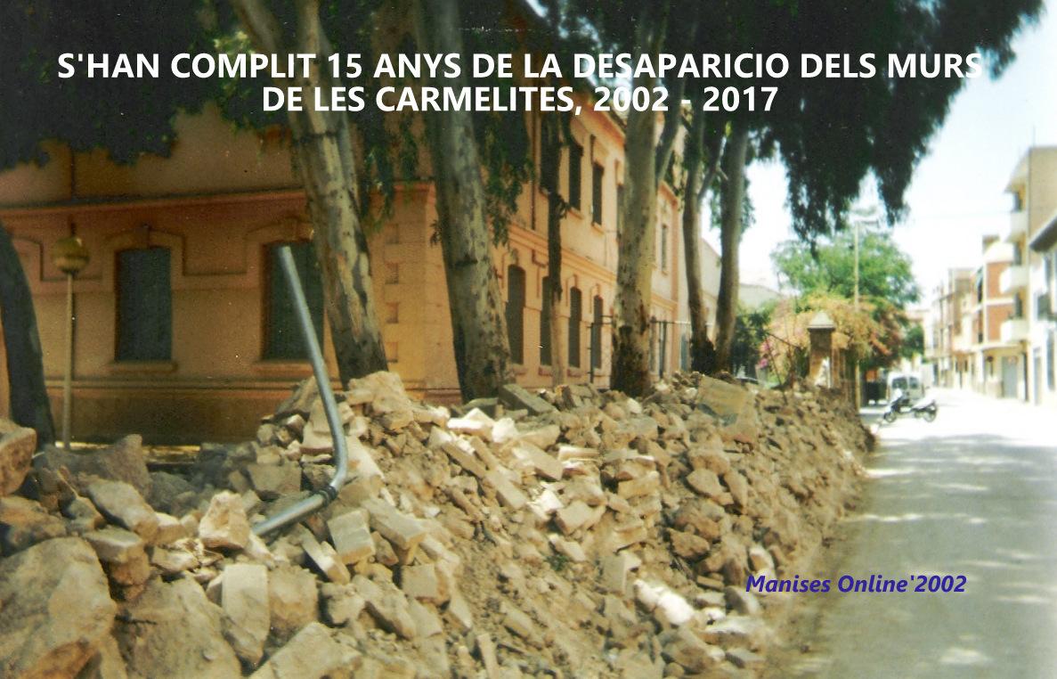 26.10.17 HACE 15 AÑOS QUE SE DERRIBARON LOS MUROS DE LA CASA DE CULTURA DE MANISES