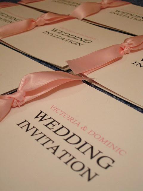 DIY wedding invitations - ribbons tied