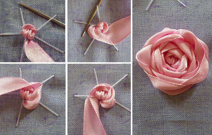 Узелок для вышивки лентами