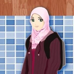 kartun muslimah memakai jaket dan tas