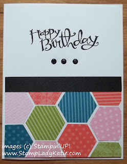 Card made with Stampin'UP!'s Sassy Salutations stamp set and hexagon punch.