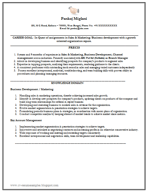 Example Of Excellent Resume Sample For Marketing (MBA Marketing) With Free  Download In Word Doc (3 Page Resume)