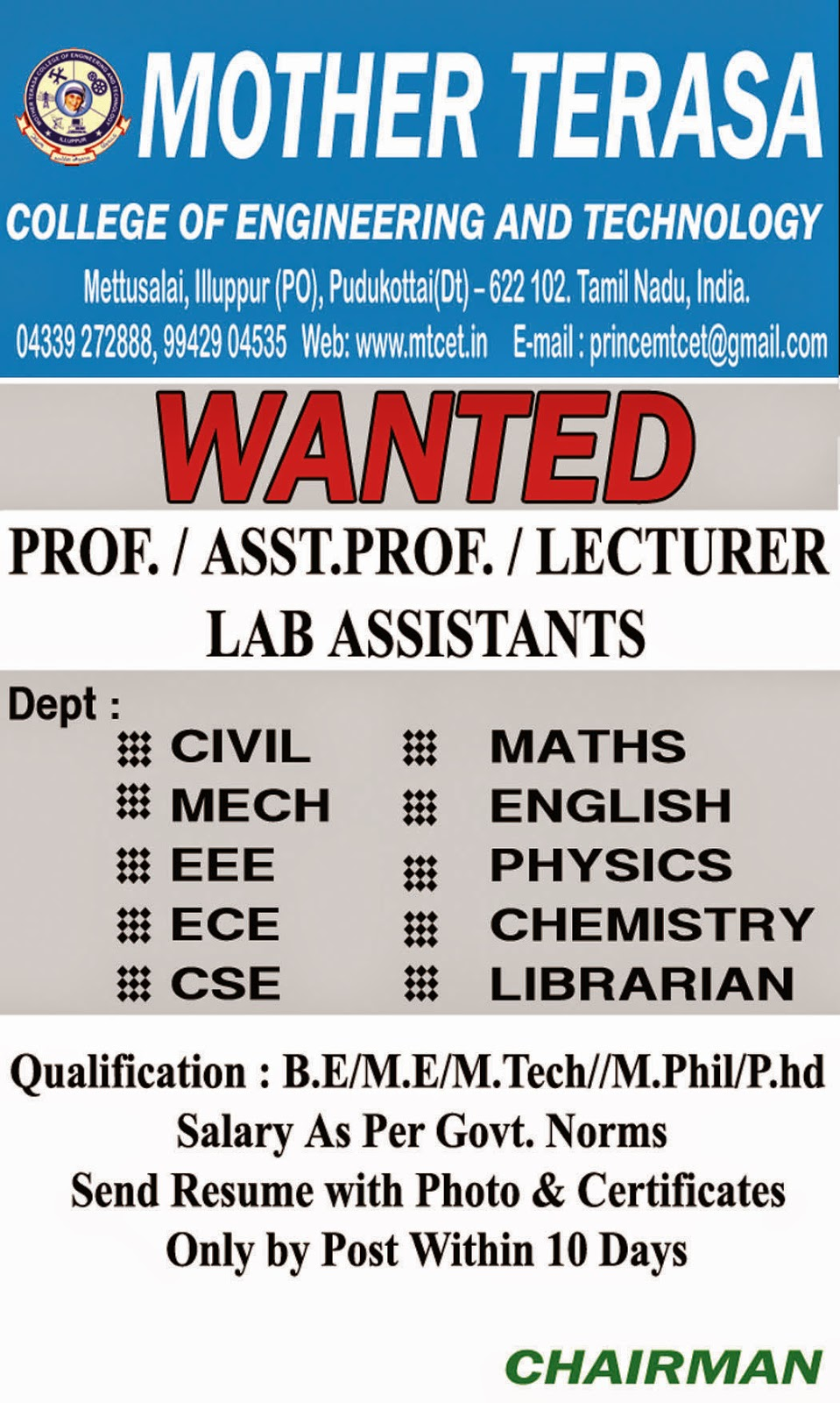 Mother Terasa College of Engineering and Technology Wanted ...