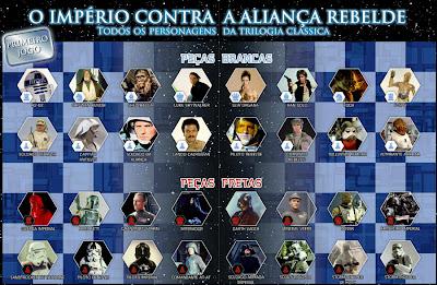 Jogo de Xadrez de Star Wars - Coleção 1 - Personagens da trilogia original da Série Guerra nas Estrelas