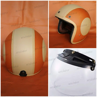 Helm Retro Classic Model Bogo Mustang Choco Brown