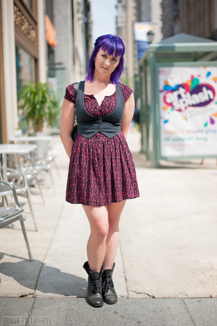 safety pin dress purple hair