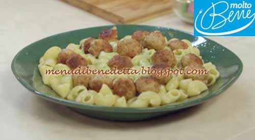 Pasta con polpettine e crema di patate ricetta Parodi per Molto Bene su Real Time
