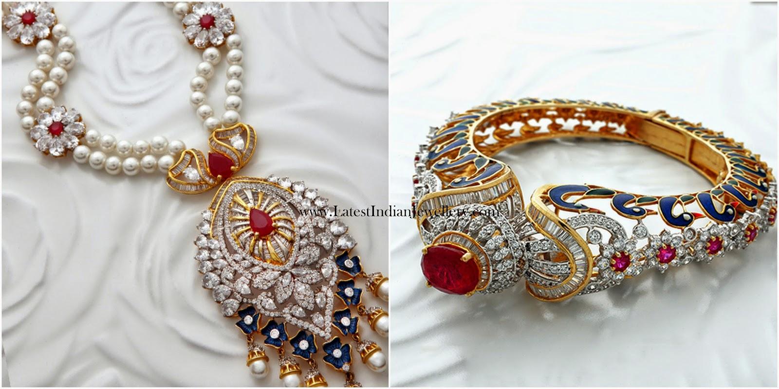 Enamel Work Diamond Pendant Kada