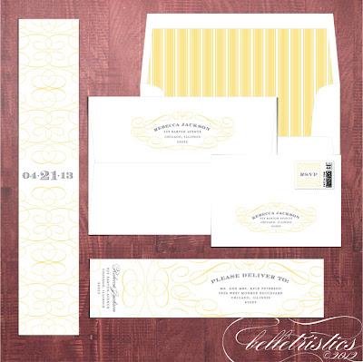 typographic printable diy yellow gray wedding invitation accessory address design
