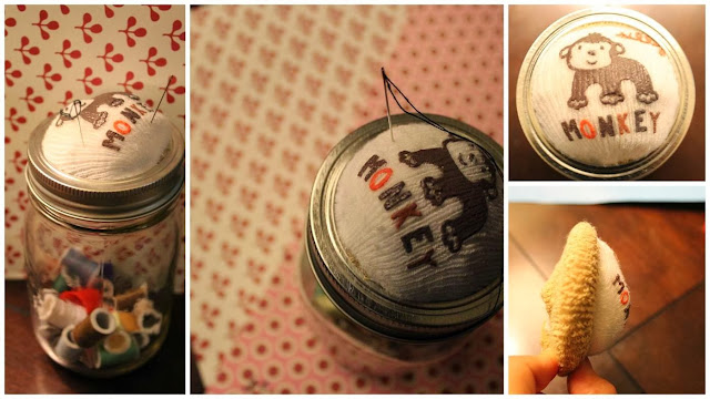 Upcycle baby socks and make a DIY sewing kit with a jar