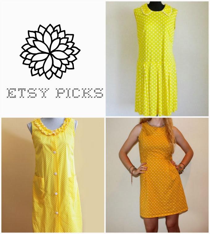 perniejaynevintage, AlienDaze, scdvintage, yellow dress, polka dot dress, Etsy, vintage, 1960s, 60s, retro, fun, playful, bright, collage, wishlist