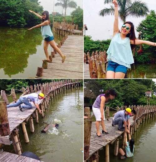 بنت تسقط من علي الجسر اثناء الوقوف للتصوير