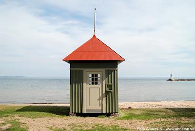 badhytt, strand, fyr, hamn, sandstrand, badplats, hjo, vättern, foto anders n
