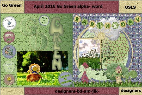 April 2016 - Go Green Alpha words designers lo