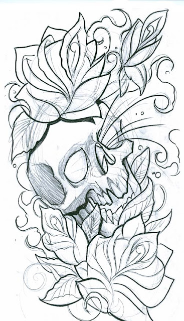 skull-with-flowers. Rate this tattoo