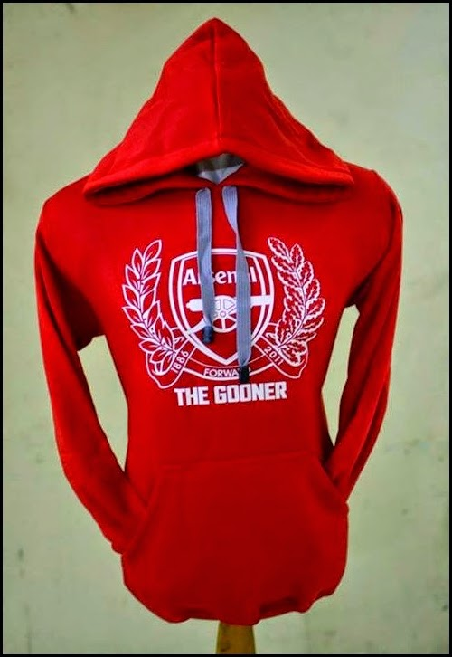 Jumper Hoodie Bola Polos (Satu Warna) - Arsenal Merah