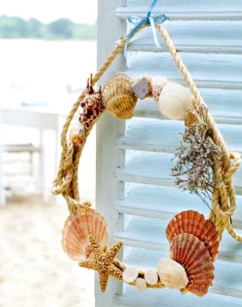 Shell rope summer wreath