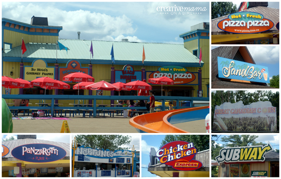 Lots of food options at Wild Water Kingdom