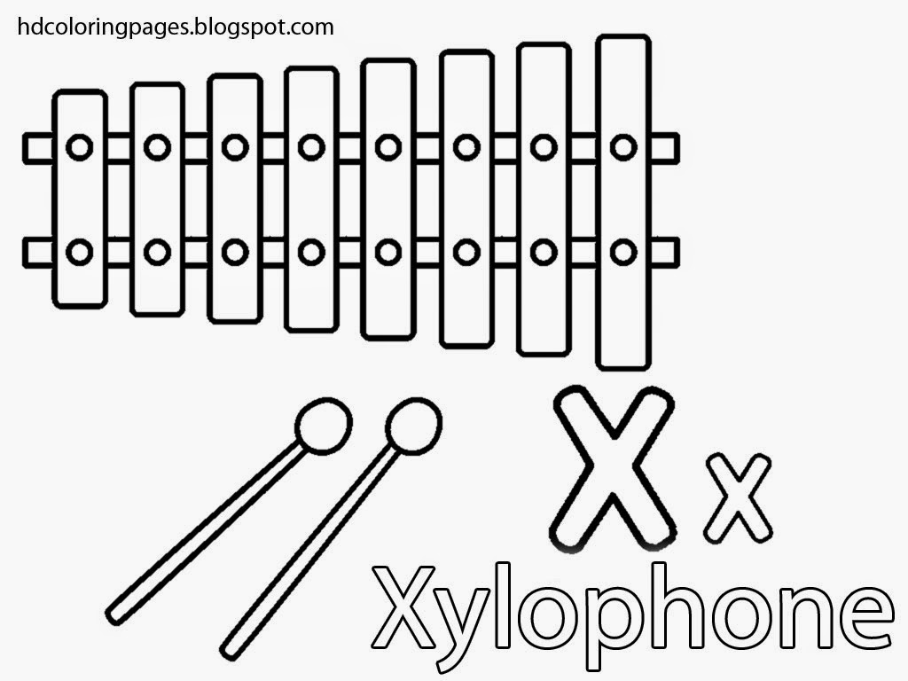 coloring pages xylophone x by letter
