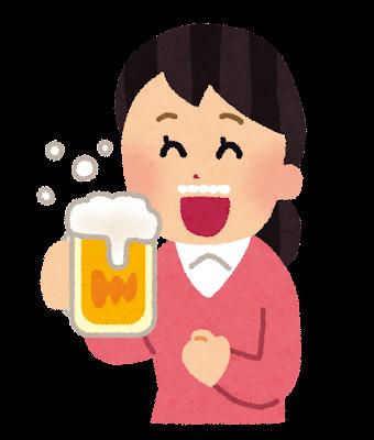美味しそうにビールを飲む人のイラスト(女性)