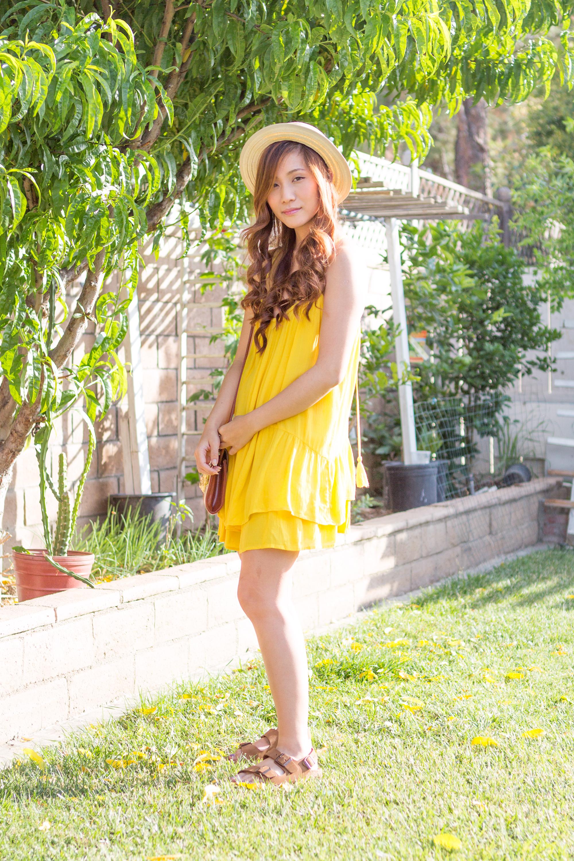 Yellow Zara Spring Summer Dress and Birkenstocks
