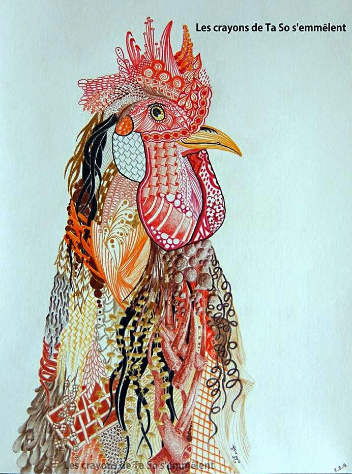 zentangle, zendoodle, rooster, zentangling