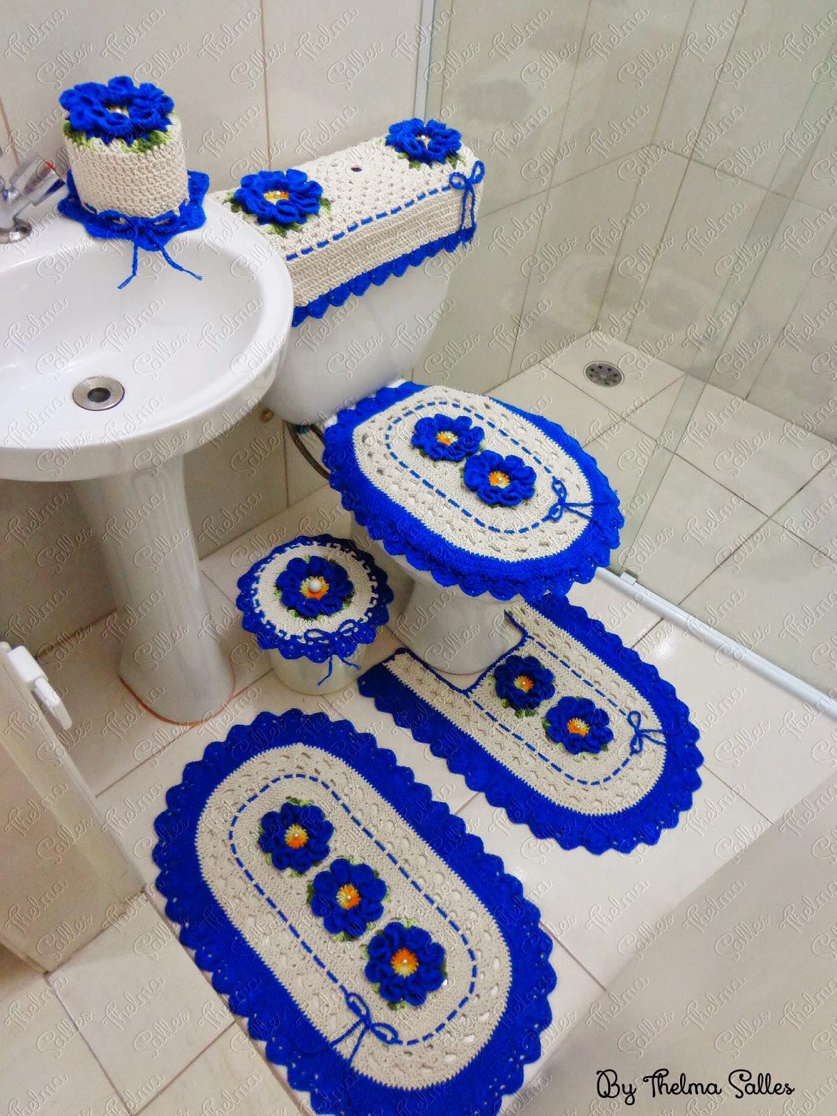 #0325C3 Jogo de banheiro de barbante em crochê 1200x1600 px tapete para banheiro em l