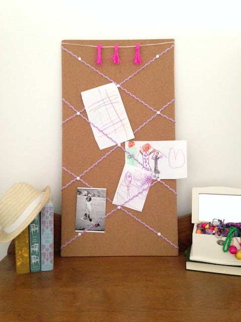 Plastic Lacing Turned Criss Cross Bulletin Board for Girl's Room