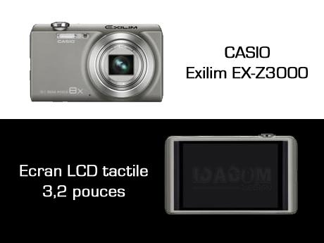 Appareil photo numérique Casio Exilim EX-Z3000 écran tactile
