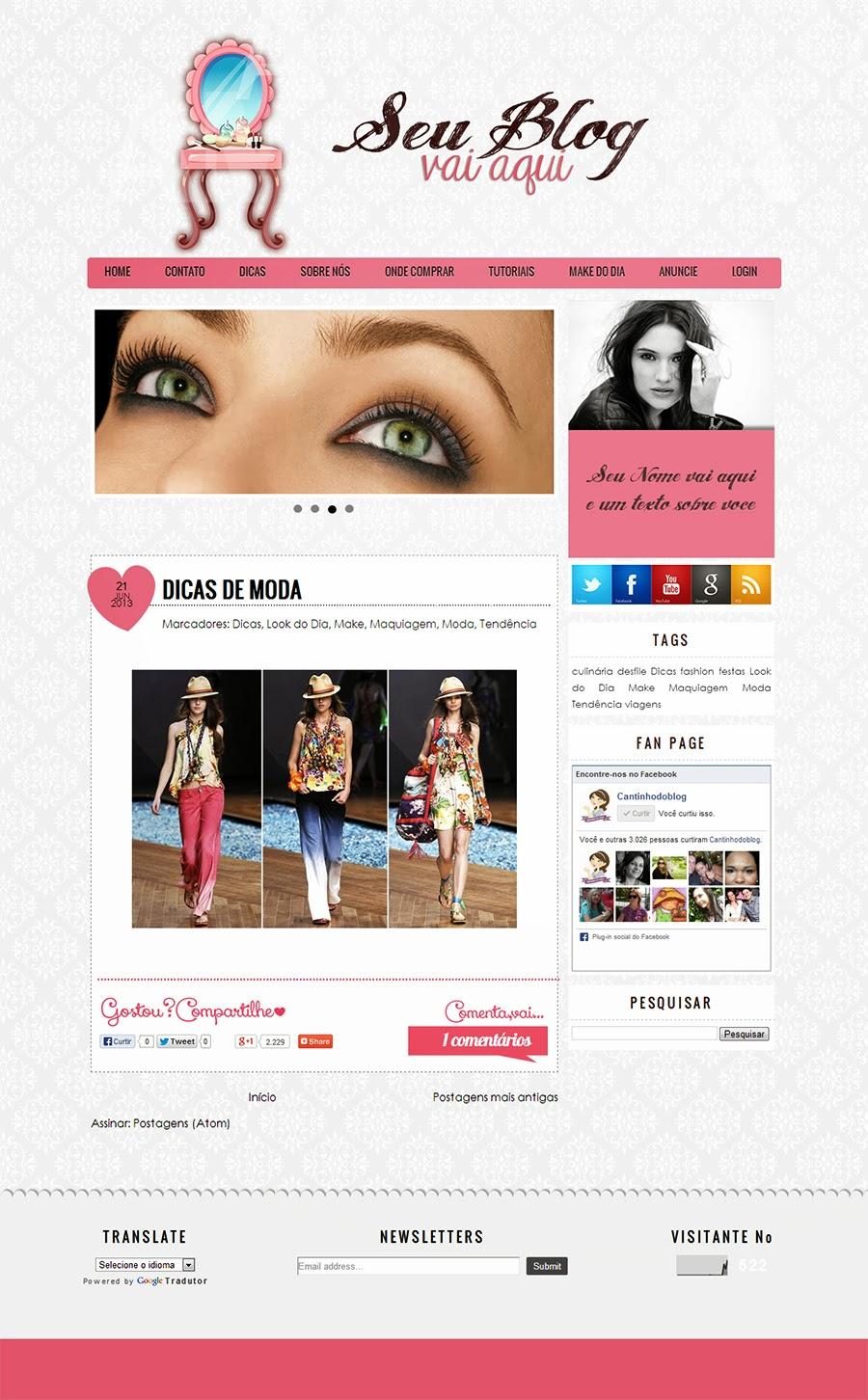Muito Templates para Blogs Femininos - Cantinho do blog JW74