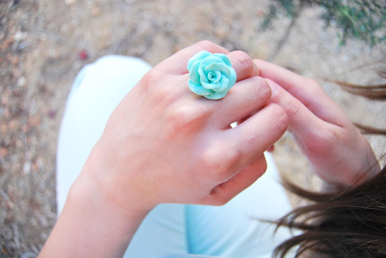 anillo rosa arcilla polimerica verde mint