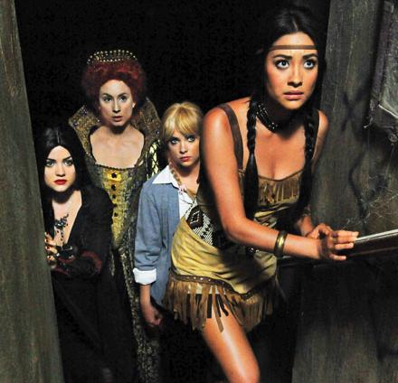 ew has a first look at the girls of pretty little liars in their halloween costumes the special halloween episode of pretty little liars will air during