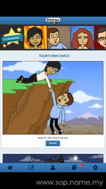 Kongsi status komik pada Facebook dengan Bitstrips